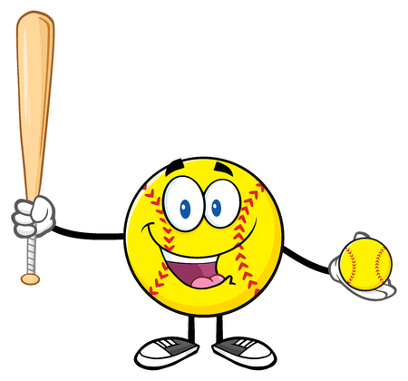 fastpitch: Happy Softball Player Cartoon Character Holding A Bat And Ball Stock Photo