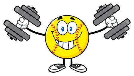 exercise: Smiling Softball Cartoon Mascot Character Working Out With Dumbbells Stock Photo