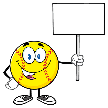 Funny Softball Cartoon Mascot Character Holding A Blank Sign