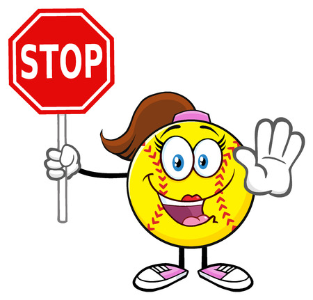 Cute Softball Girl Cartoon Mascot Character Gesturing And Holding A Stop Sign