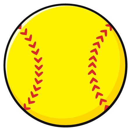 Cartoon Softball. Illustration Isolated On White Background