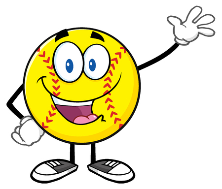 fastpitch: Happy Softball Cartoon Character Waving For Greeting