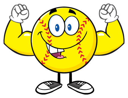 fastpitch: Happy Softball Cartoon Mascot Character Flexing