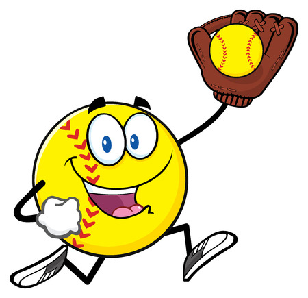 character cartoon: Softball Cartoon Character Running With Glove And Ball