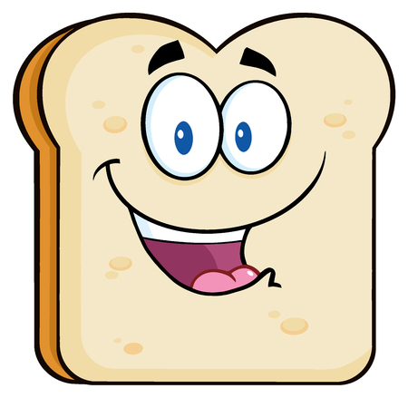white bread: Happy Bread Slice Cartoon Character. Illustration Isolated On White Background