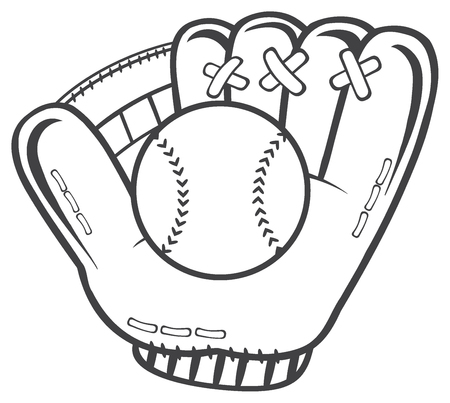 fastball: Black And White Baseball Glove And Ball. Illustration Isolated On White Background
