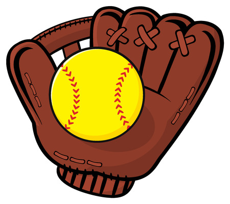 fastball: Baseball Glove And Yellow Softball. Illustration Isolated On White Background