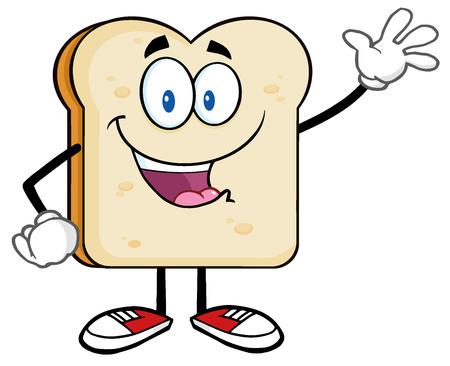 comiendo pan: Carácter lindo del pan de la rebanada de dibujos animados agitando para el saludo Foto de archivo