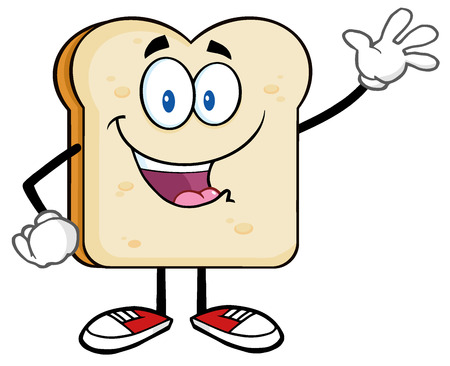 sliced bread: Cute Bread Slice Cartoon Character Waving For Greeting Stock Photo