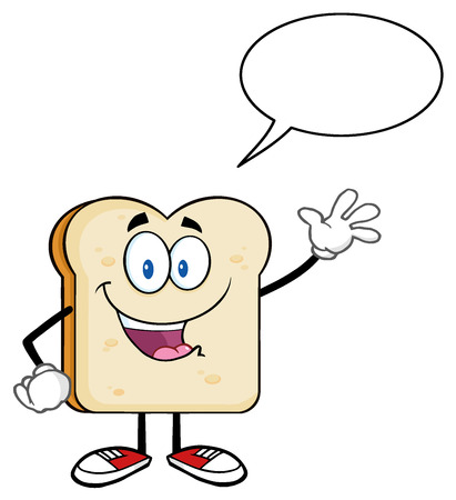 Cute Bread Slice Cartoon Character Waving For Greeting With Speech Bubble