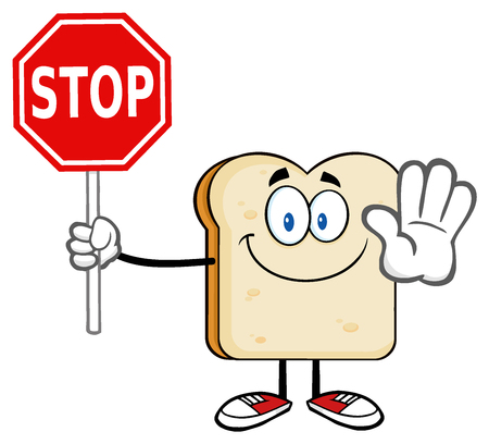 baker cartoon: Smiling Bread Slice Cartoon Mascot Character Gesturing And Holding A Stop Sign