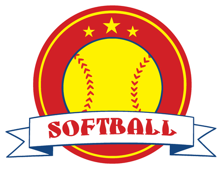 Yellow Softball Design Label. Illustration Isolated On White Background With Text