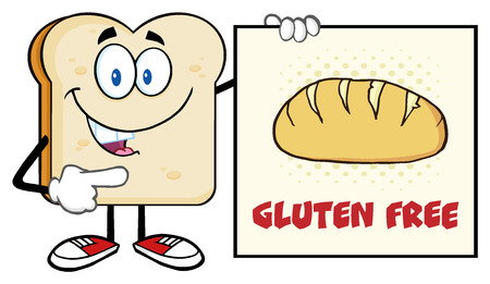 Talking Bread Slice Cartoon Mascot Character Pointing To A Sign Gluten Free