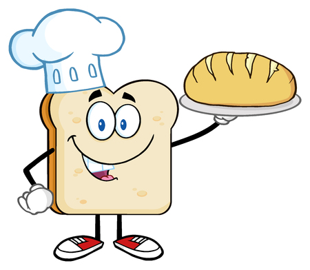 Chef Bread Slice Cartoon Character Presenting Perfect Bread
