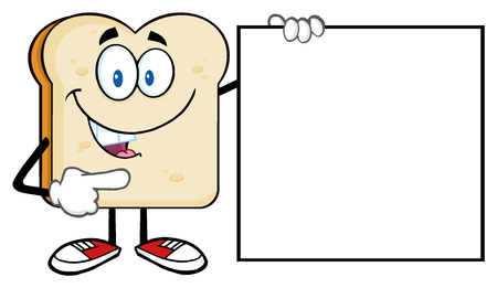 bread: Talking Bread Slice Cartoon Mascot Character Pointing To A Blank Sign Stock Photo