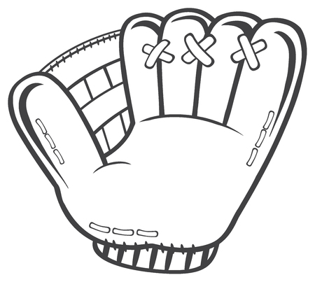 fastball: Black And White Baseball Glove. Illustration Isolated On White Background Stock Photo