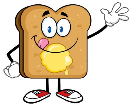 Happy Toast Bread Cartoon Character Licking His Lips With Butter Waving Stock Photo