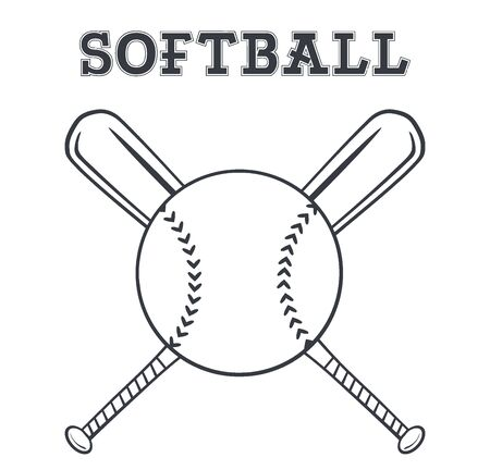 baseball sport: Black And White Softball Over Crossed Bats Design. Illustration With Text Stock Photo
