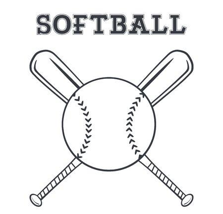 cartoon star: Blanco y negro softball Durante palos cruzados Dise�o. Ilustraci�n con el texto Foto de archivo