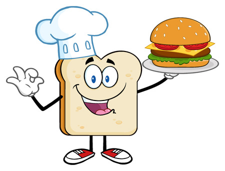 Chef Bread Slice Cartoon Character Presenting Perfect Hamburger