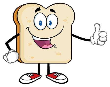 Happy Bread Slice Cartoon Mascot Character Giving A Thumb Up
