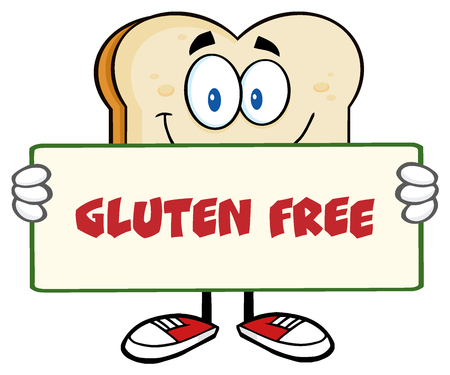 Bread Slice Cartoon Mascot Character Holding A Sign. Illustration With Text Gluten Free
