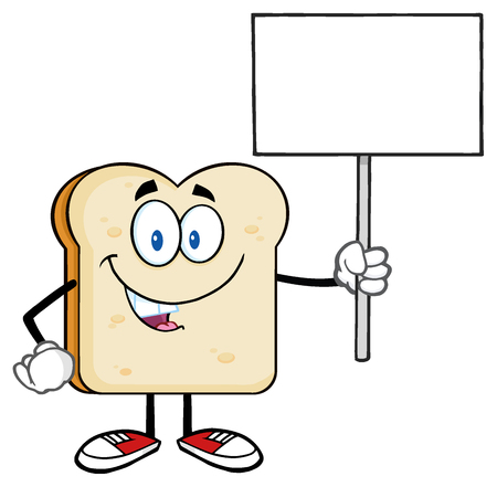 pan frances: Sonriendo personaje de dibujos animados de la rebanada de pan que sostiene una muestra en blanco