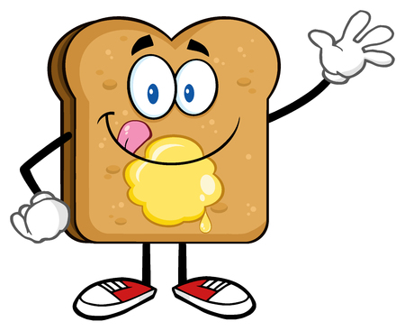 bread and butter: Happy Toast Bread Cartoon Character Licking His Lips With Butter Waving. Stock Photo