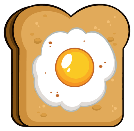 boiled: Cartoon Toast Bread Slice With Egg. Illustration Isolated On White Background