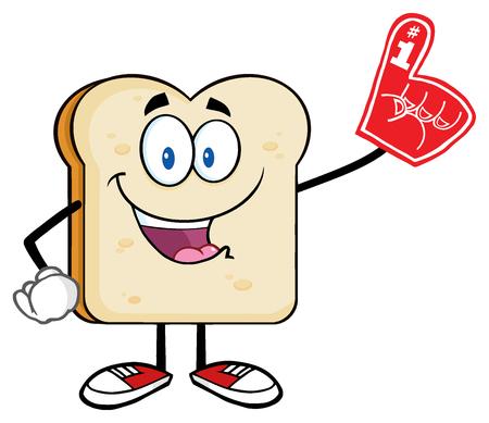 Happy Bread Slice Cartoon Mascot Character Wearing A Foam Finger