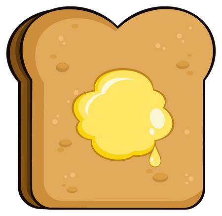 comiendo pan: Pan de la tostada de la rebanada de la historieta con la mantequilla. Ilustración sobre fondo blanco