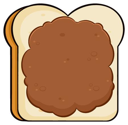Cartoon Toast Bread Slice With Peanut Butter