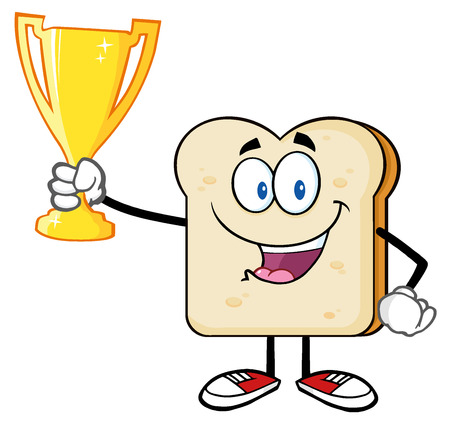 toast: Happy Bread Slice Cartoon Mascot Character Holding Up A Trophy