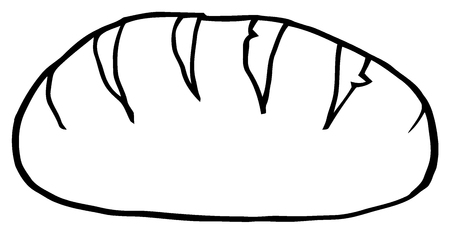 white bread: Black And White Hand Drawn Cartoon Loaf Bread Stock Photo