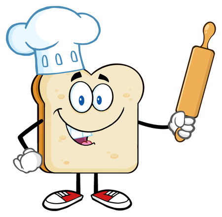 comiendo pan: Mascota de la historieta del panadero rebanada de pan personaje con sombrero del cocinero Holding un contacto de balanceo Foto de archivo