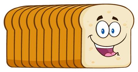 笑顔パン パン漫画のマスコット キャラクター。白い背景で隔離の図