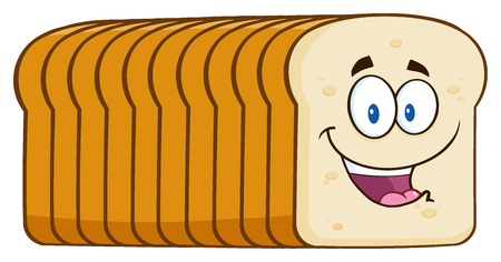 white bread: Smiling Bread Loaf Cartoon Mascot Character. Illustration Isolated On White Background