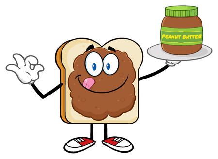 bread and butter: Bread Slice Cartoon Character With Peanut Butter Holding A Jar Of Peanut Butter