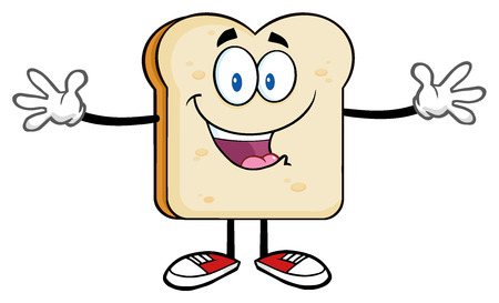 Happy Bread Slice Cartoon Character With Open Arms Stock Photo