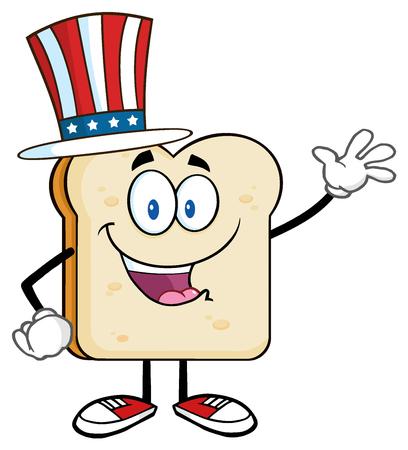 American Bread Slice Cartoon Character Waving For Greeting Stock Photo