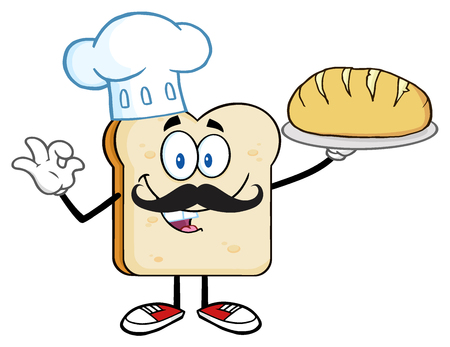 baker cartoon: Baker Bread Slice Cartoon Mascot Character With Chef Hat And Mustache Holding A Bread Stock Photo