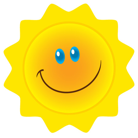 Smiling Sun Cartoon Mascot Character. Illustration Isolated On White Background Banco de Imagens