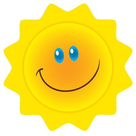 Smiling Sun Cartoon Mascot Character. Illustration Isolated On White Background Stock Photo