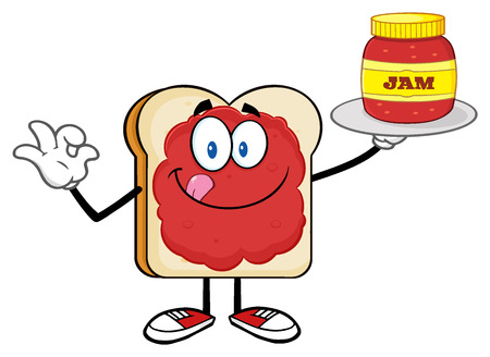 fresh slice of bread: Bread Slice Cartoon Character With Jam Holding A Jar Of Jam