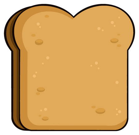 Cartoon Toast Bread Slice. Illustration Isolated On White Background