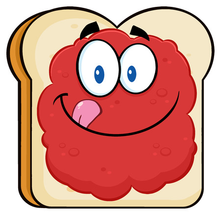 licking: Toast Bread Slice Cartoon Character Licking His Lips With Jam