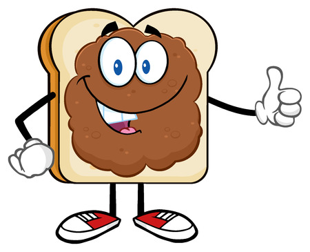 bread and butter: Smiling Bread Slice Cartoon Character With Peanut Butter Giving A Thumb Up Stock Photo