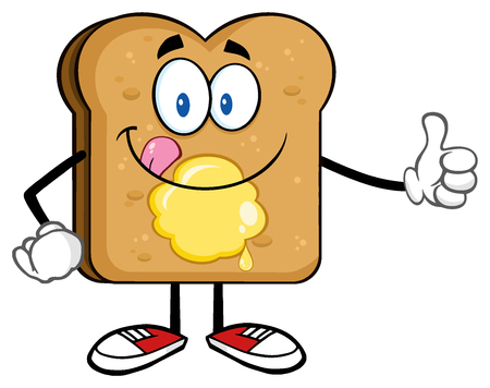 french bakery: Toast Bread Slice Cartoon Character Licking His Lips With Giving A Thumb Up Stock Photo