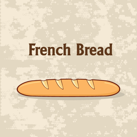 Cartoon French Bread Baguette Poster Design With Text. Illustration Background Stock Photo
