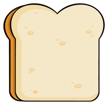 white bread: Cartoon Bread Slice. Illustration Isolated On White Background